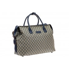 На фото 1 - Багажная сумка саквояж из искусственной кожи, цвет серый