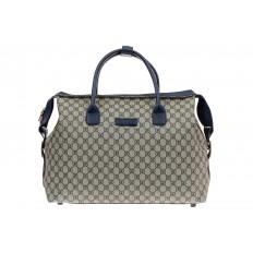 На фото 2 - Багажная сумка саквояж из искусственной кожи, цвет серый