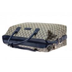 На фото 4 - Багажная сумка саквояж из искусственной кожи, цвет серый