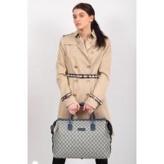 На фото 5 - Багажная сумка саквояж из искусственной кожи, цвет серый
