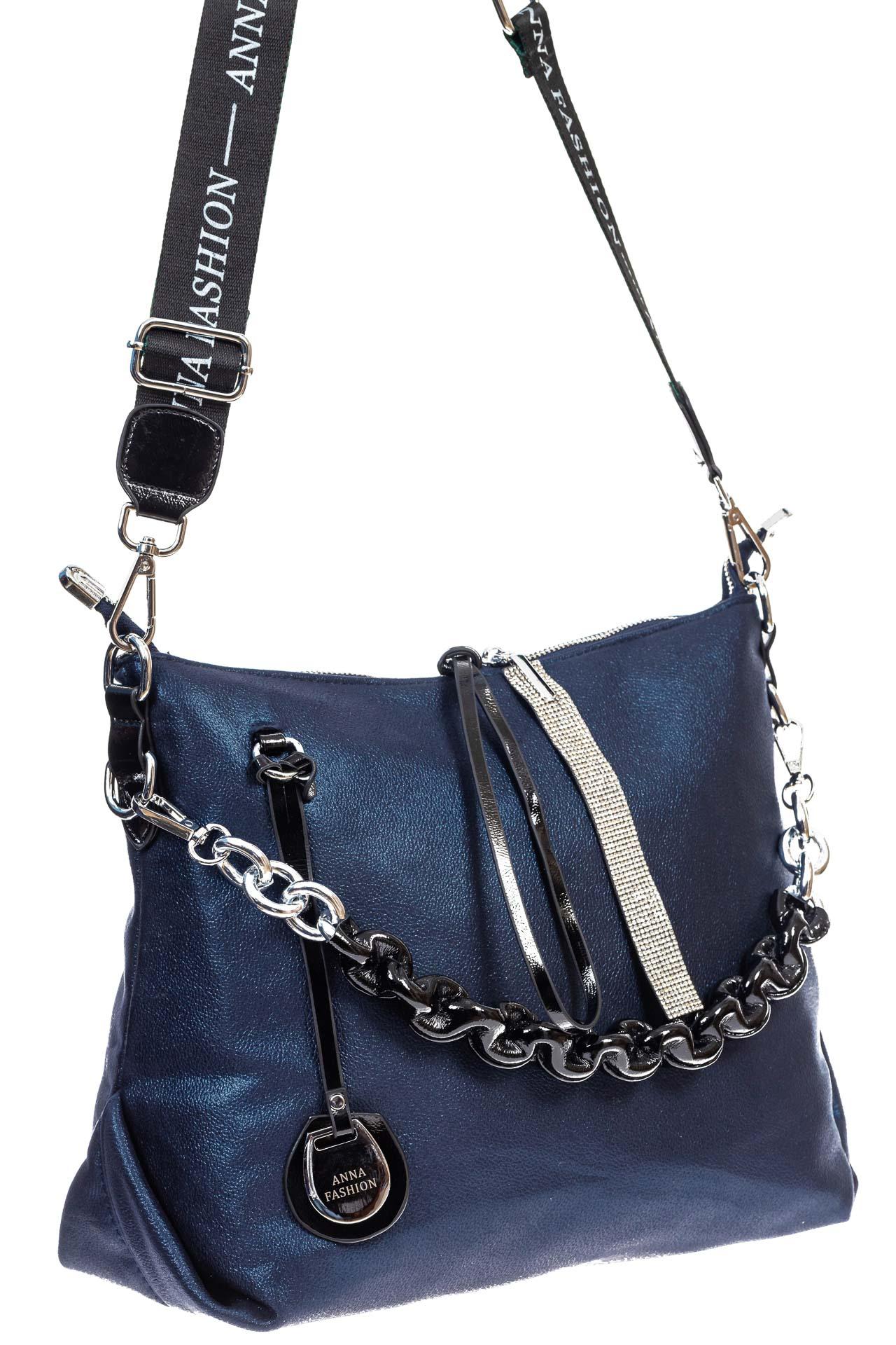 На фото 3 - Женская сумка хобо из искусственной кожи, цвет синий