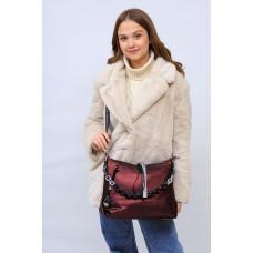 На фото 1 - Женская сумка хобо из искусственной кожи, цвет бордо