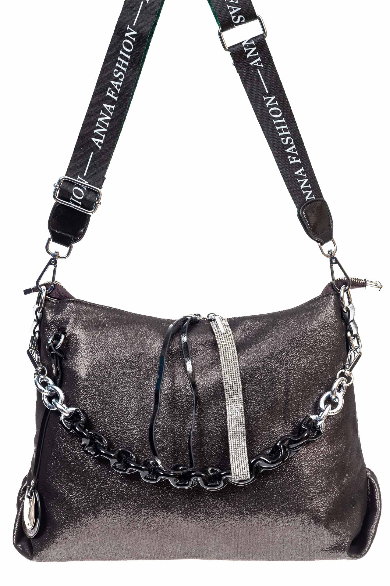 На фото 2 - Женская сумка хобо из искусственной кожи, цвет шоколад