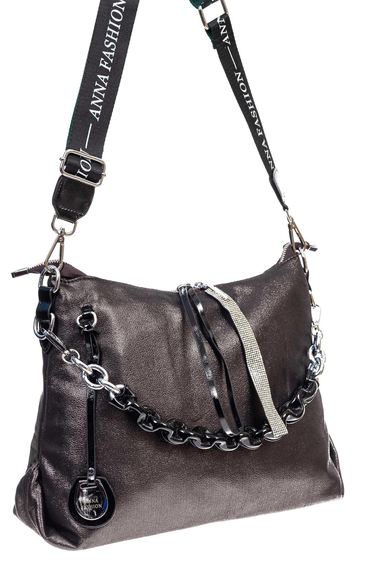 На фото 3 - Женская сумка хобо из искусственной кожи, цвет шоколад