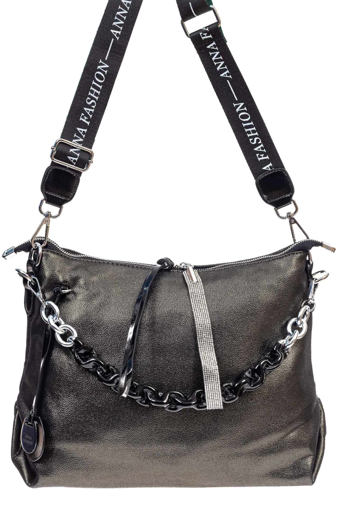На фото 2 - Женская сумка хобо из искусственной кожи, цвет зеленый
