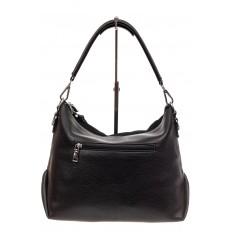 На фото 3 - Комбинированная сумка хобо из искусственной кожи и замши, цвет черный