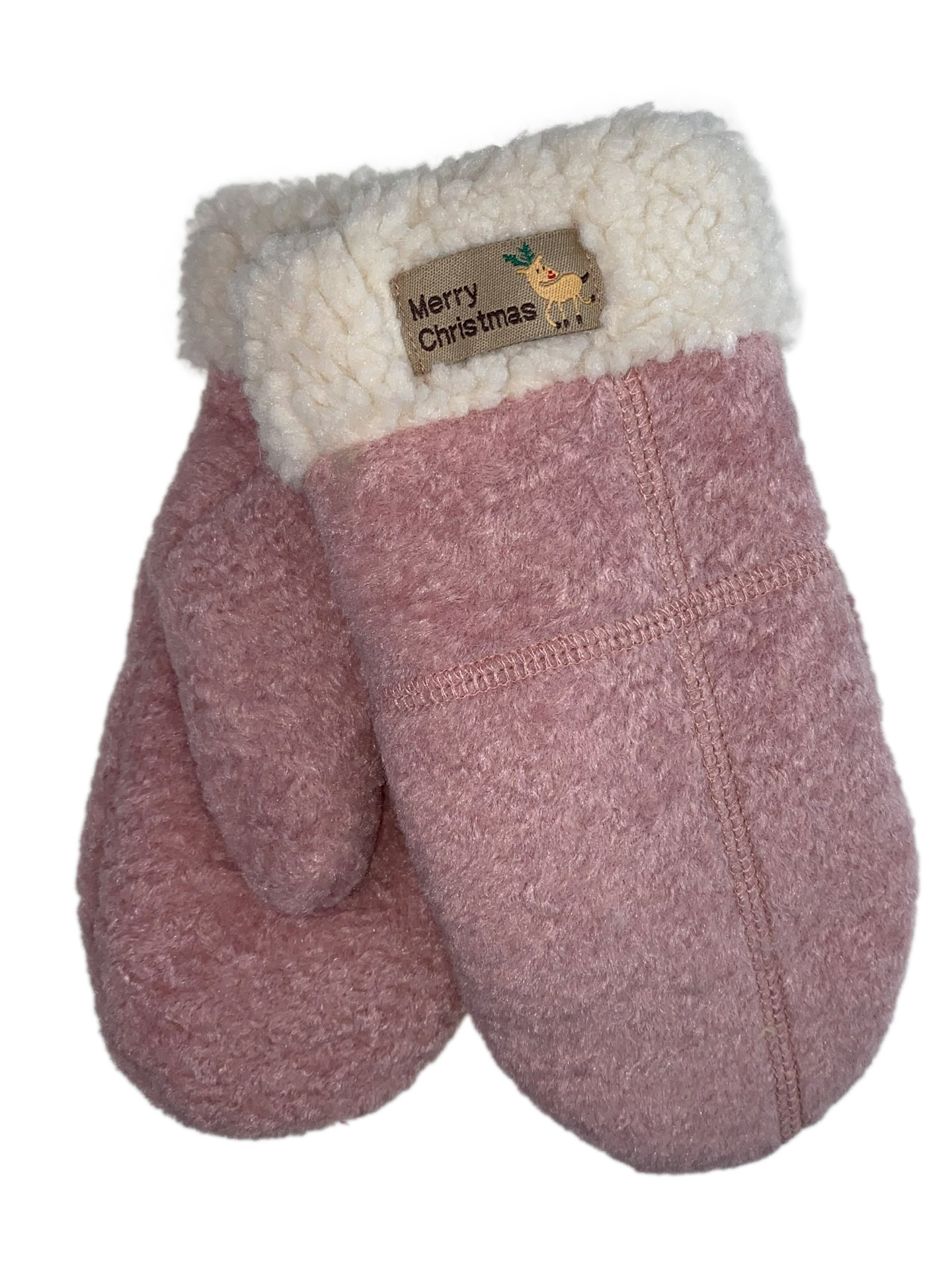 Шерстяные женские варежки с подкладом из искусственного меха, цвет розовый31313VP1220/16