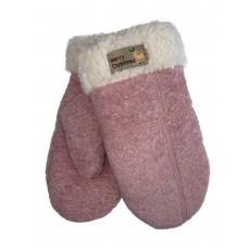 На фото 1 - Шерстяные женские варежки с подкладом из искусственного меха, цвет розовый