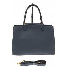 На фото 2 - Серо-голубая классическая сумка из искусственной кожи