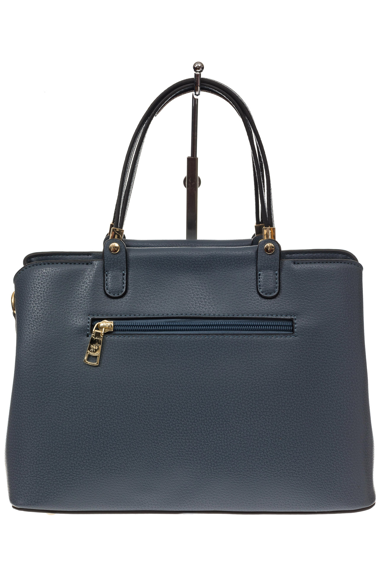 На фото 3 - Серо-голубая классическая сумка из искусственной кожи