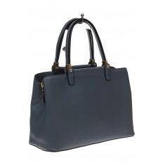 На фото 4 - Серо-голубая классическая сумка из искусственной кожи