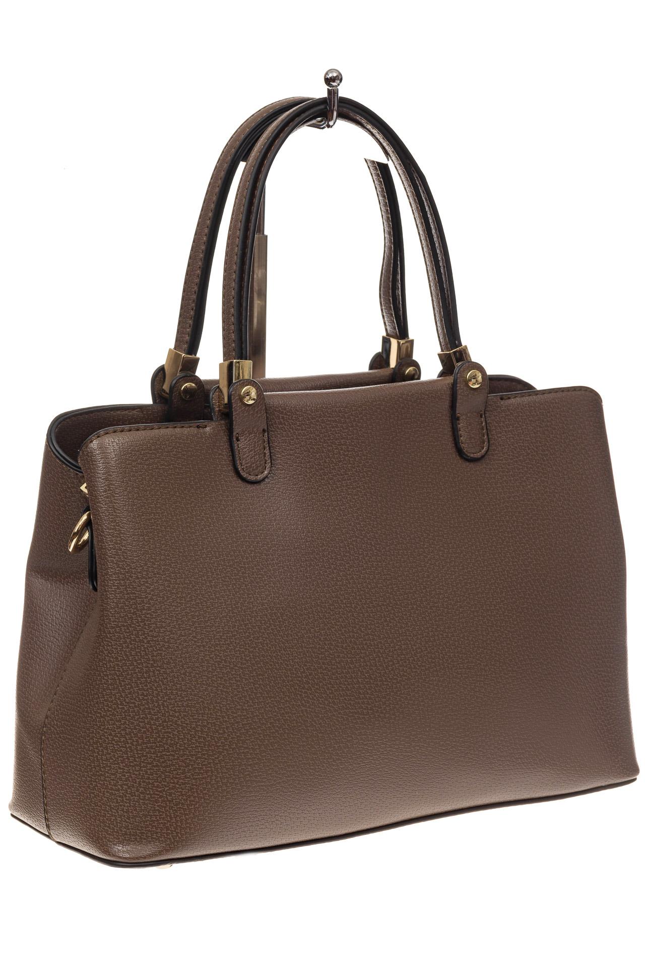 На фото 1 - Коричневая классическая сумка из искусственной кожи
