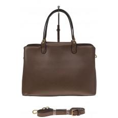 На фото 2 - Коричневая классическая сумка из искусственной кожи