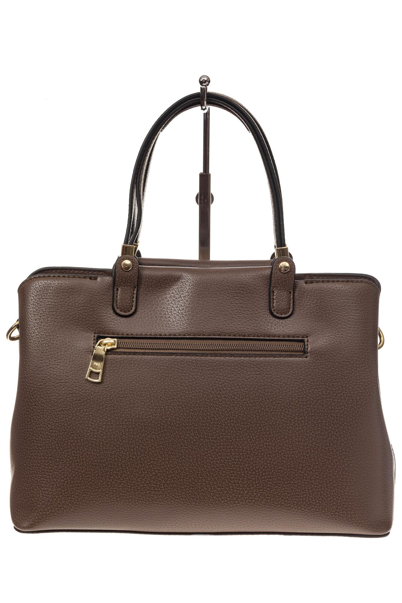 На фото 3 - Коричневая классическая сумка из искусственной кожи
