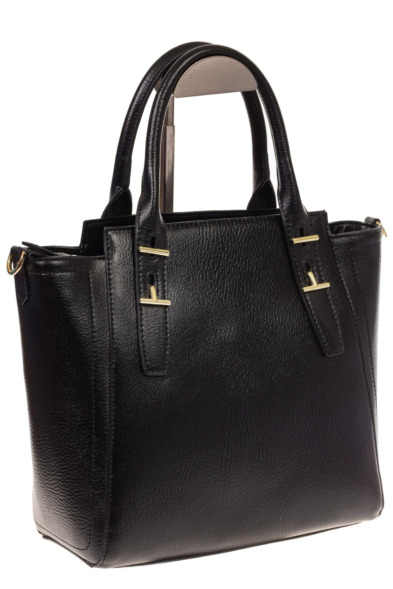 На фото 1 - Черная сумка-трапеция из натуральной кожи 317