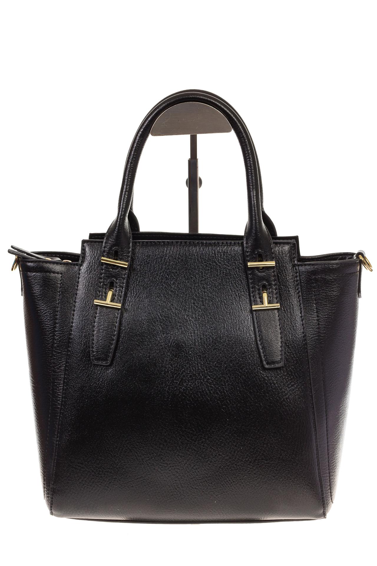 На фото 2 - Черная сумка-трапеция из натуральной кожи 317