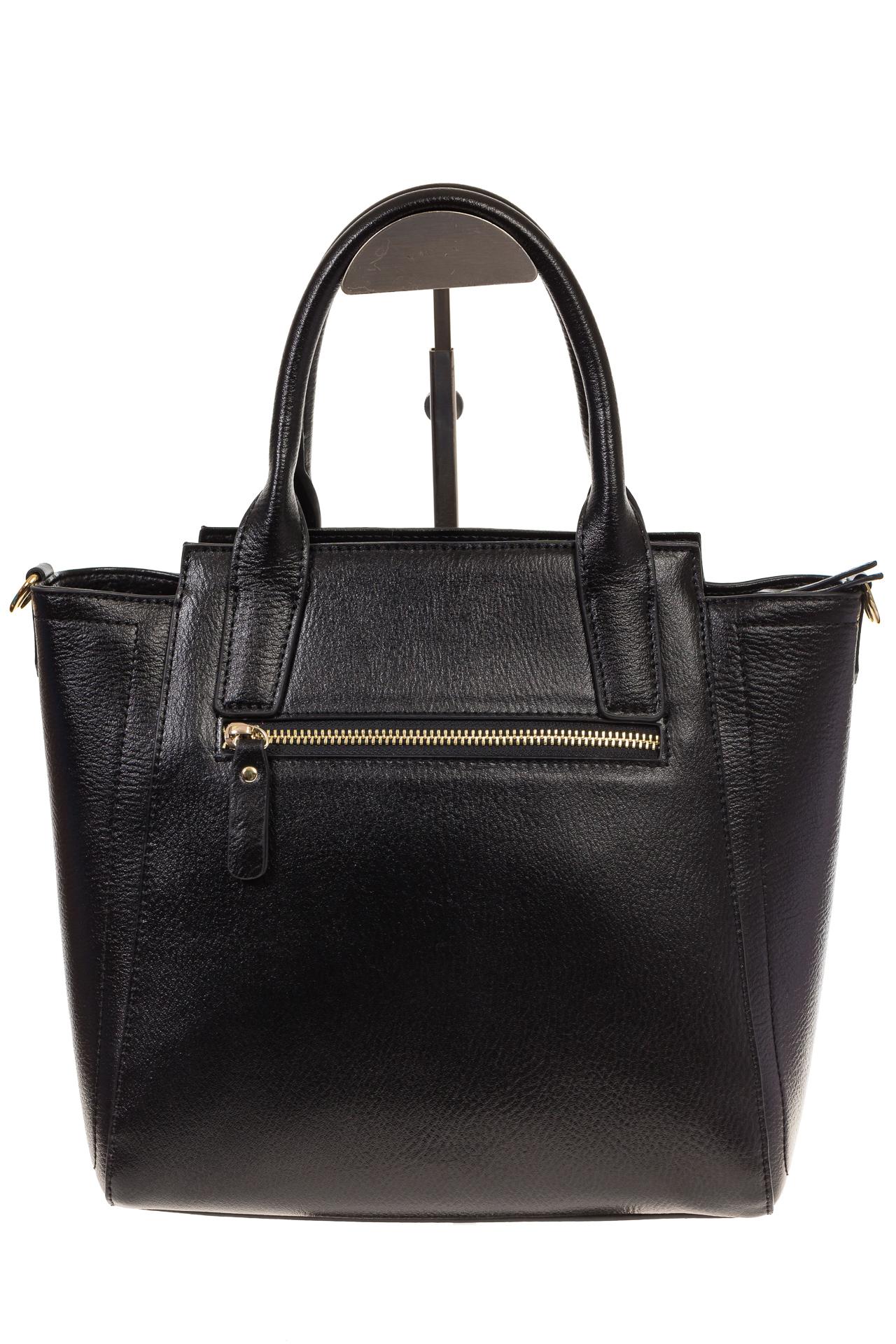 На фото 3 - Черная сумка-трапеция из натуральной кожи 317