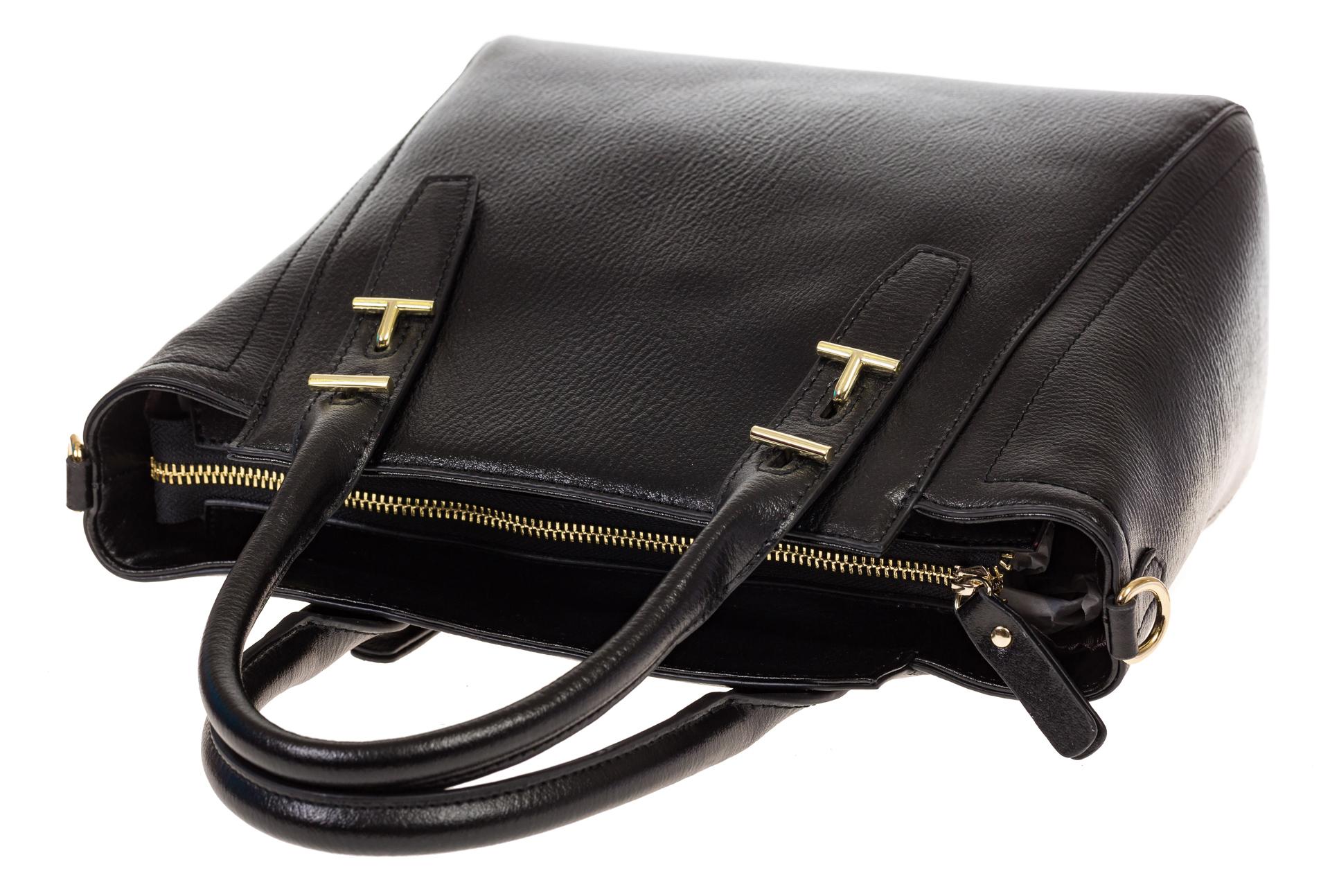 На фото 4 - Черная сумка-трапеция из натуральной кожи 317