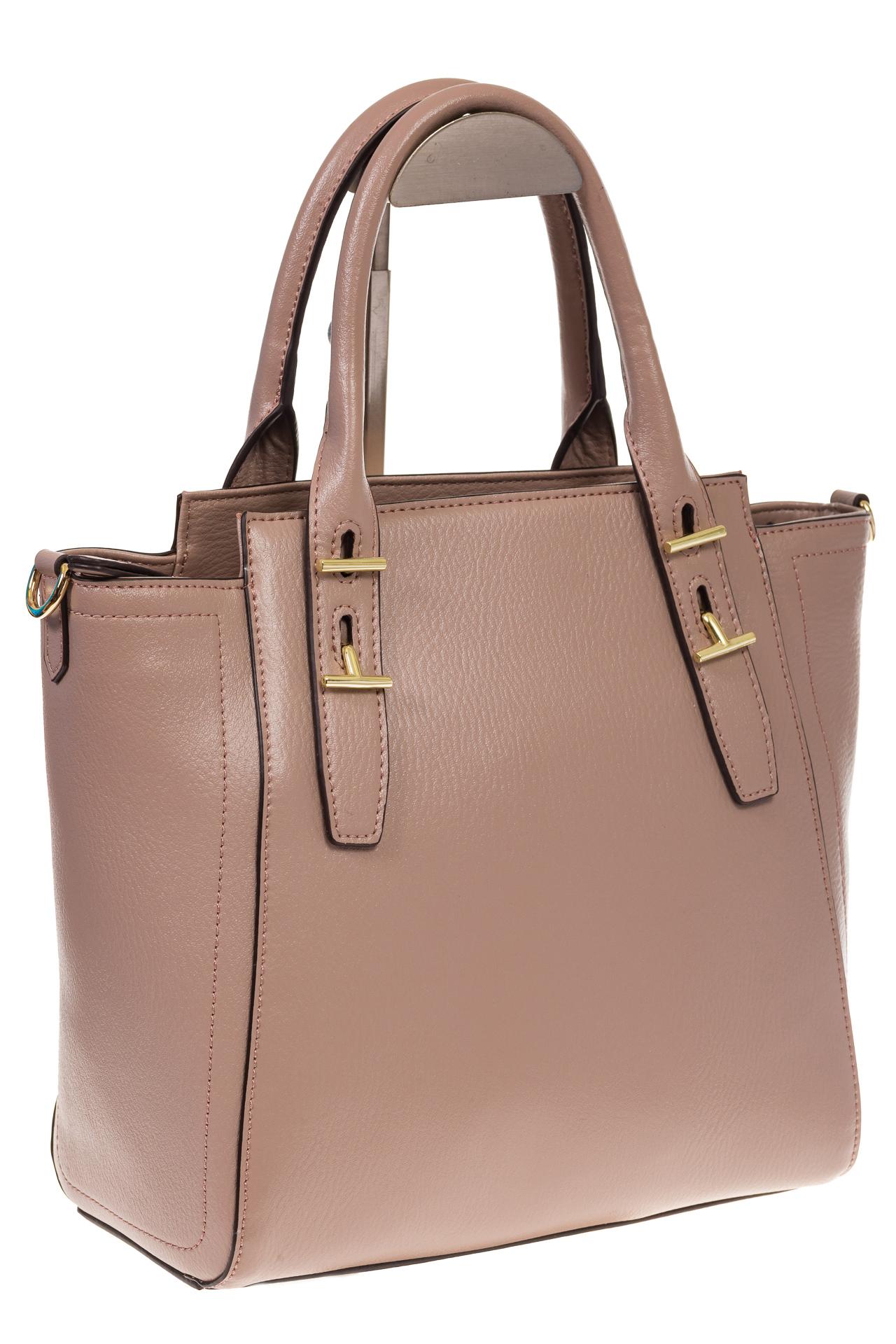 Бежевая сумка-трапеция из натуральной кожи 317   на изображении