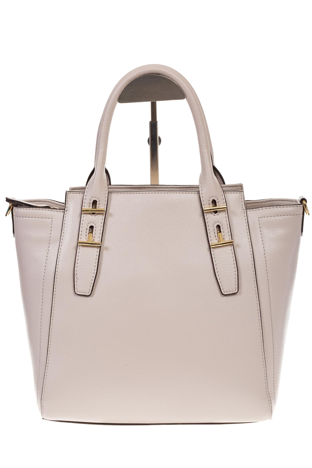 На фото 2 - Белая сумка-трапеция из натуральной кожи 317