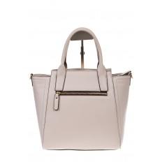 На фото 3 - Белая сумка-трапеция из натуральной кожи 317