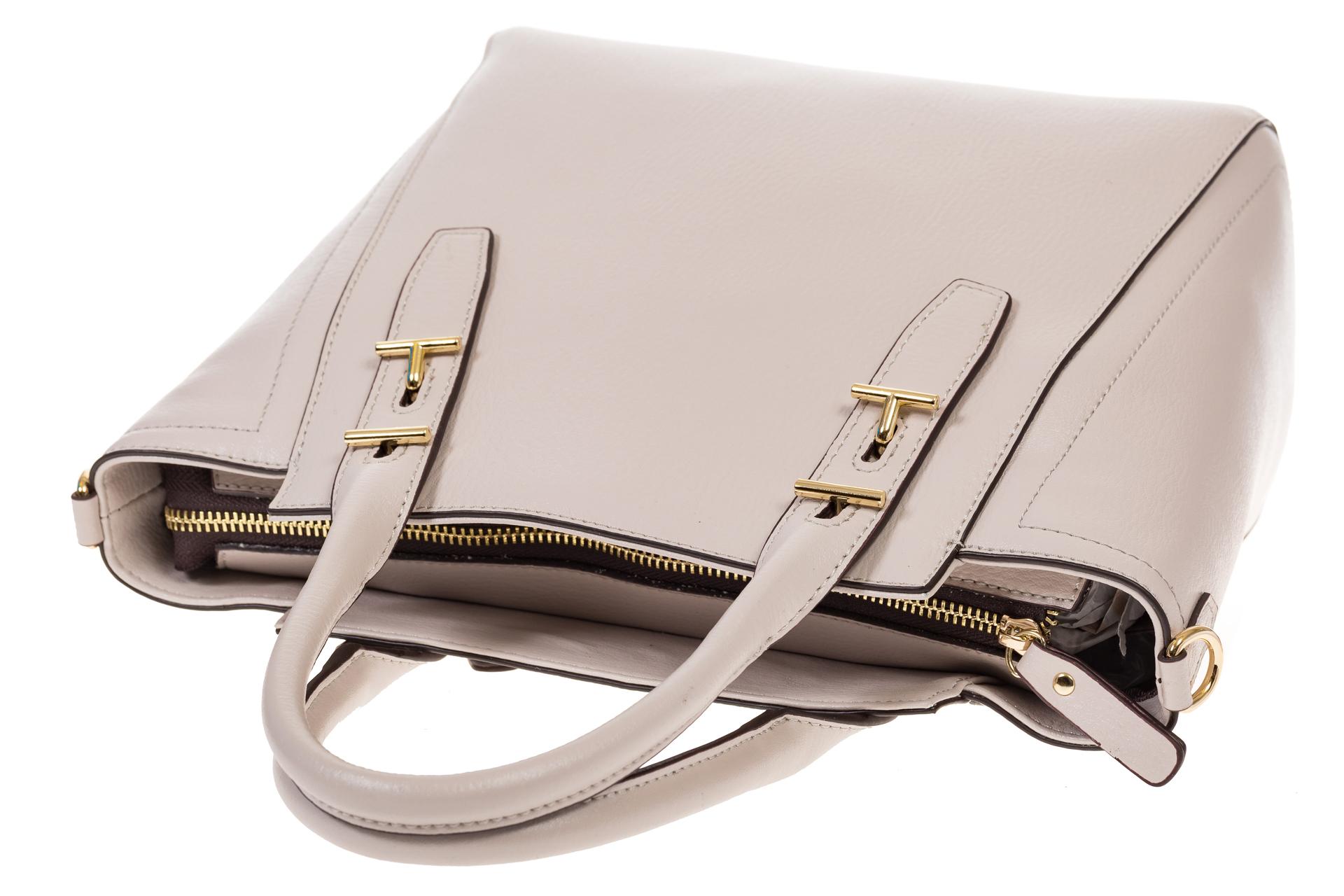 На фото 4 - Белая сумка-трапеция из натуральной кожи 317