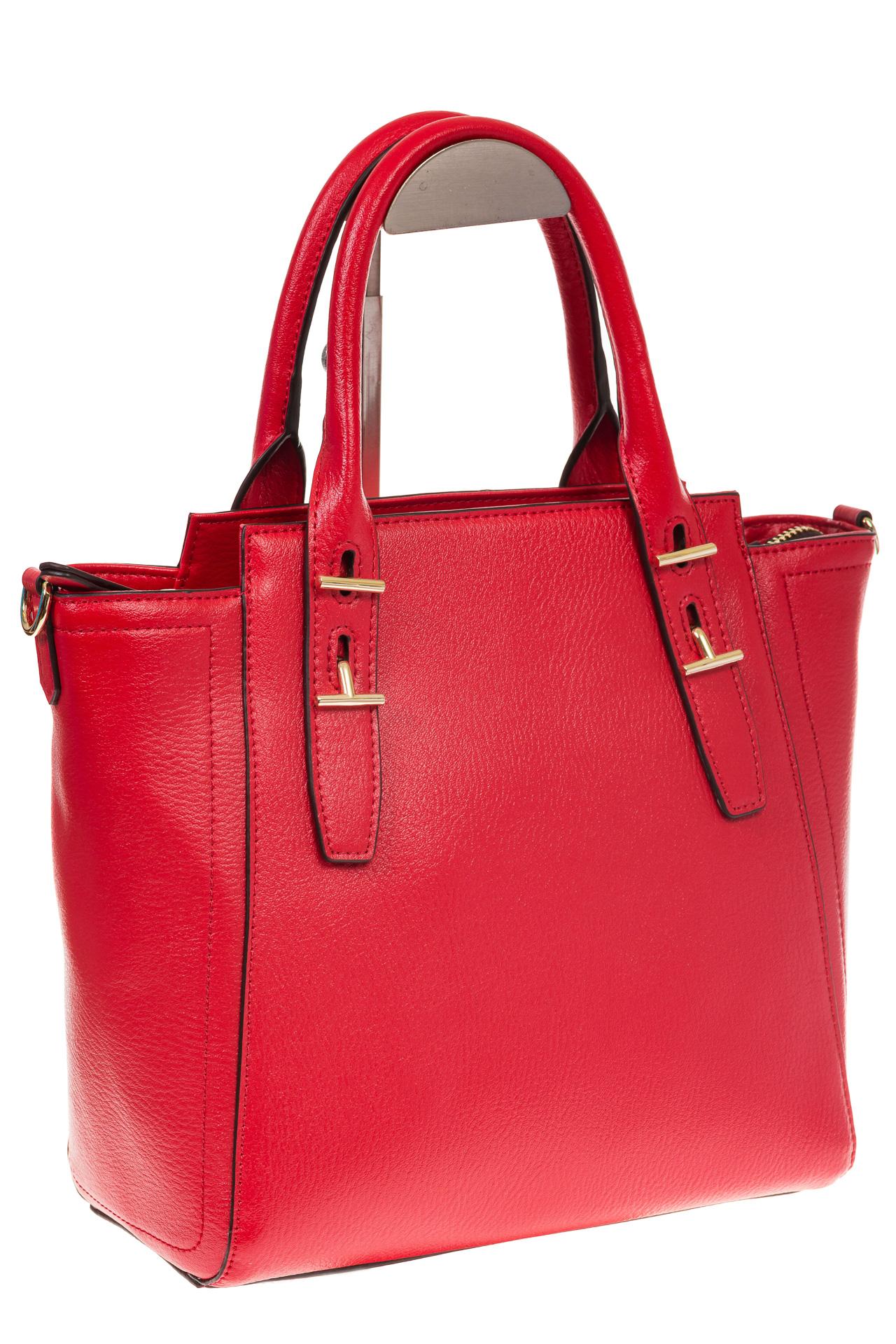 Красная сумка-трапеция из натуральной кожи 317 для оптовых покупателей