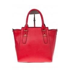 На фото 2 - Красная сумка-трапеция из натуральной кожи 317