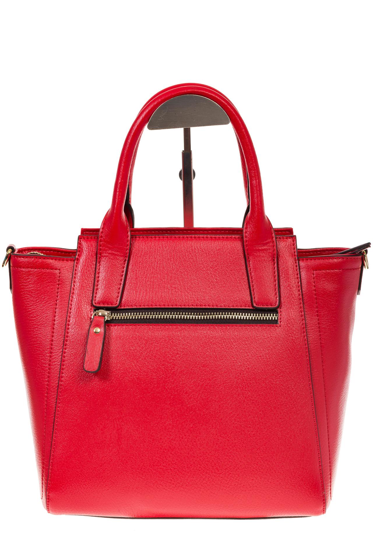 На фото 3 - Красная сумка-трапеция из натуральной кожи 317