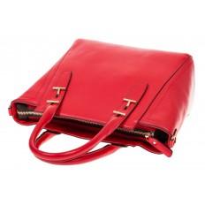 На фото 4 - Красная сумка-трапеция из натуральной кожи 317