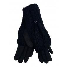 На фото 1 - Велюровые перчатки с шерстяными митенками, цвет чёрный
