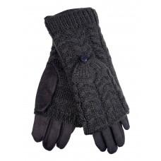 На фото 1 - Велюровые перчатки с шерстяными митенками, цвет серый