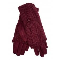 На фото 1 - Велюровые перчатки с шерстяными митенками, цвет бордовый