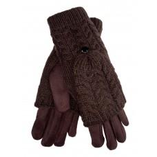 На фото 1 - Велюровые перчатки с шерстяными митенками, цвет шоколад