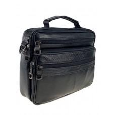 На фото 1 - Мужская классическая сумка из натуральной кожи, цвет чёрный