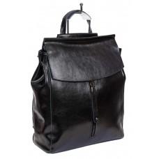 На фото 1 - Рюкзак-трансформер женский из натуральной кожи, цвет чёрный