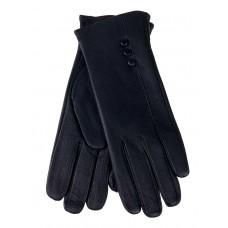На фото 1 - Перчатки женские из мягкой кожи оленя, чёрные