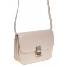 на фото Белая сумочка cross-body из натуральной кожи 3221MK5