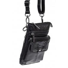 На фото 1 - Маленькая мужская сумка на пояс из натуральной кожи, цвет черный