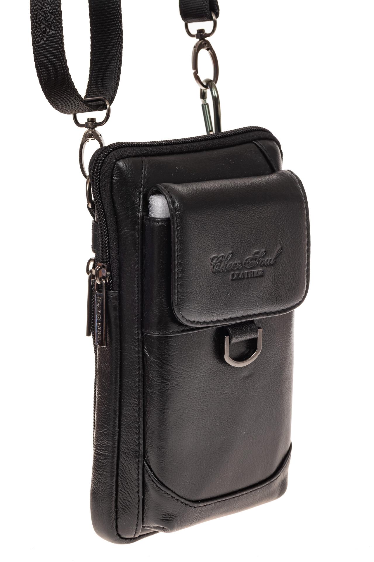 На фото 1 - Маленькая мужская сумка из натуральной кожи, цвет черный