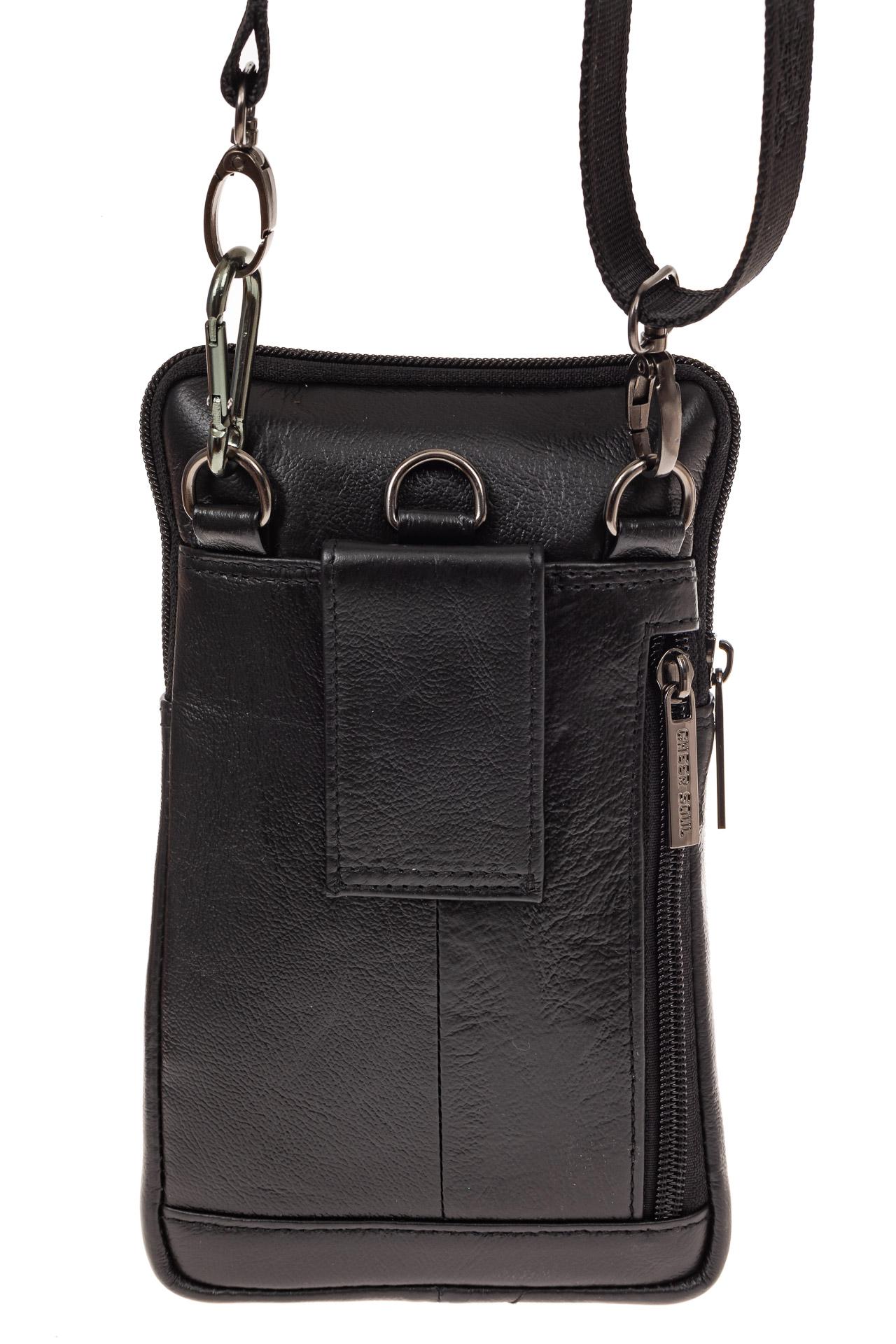 На фото 3 - Маленькая мужская сумка из натуральной кожи, цвет черный