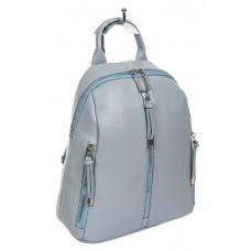 На фото 1 - Женский рюкзачок из фактурной искусственной кожи, цвет голубой