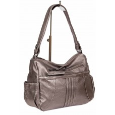 На фото 1 - Женская сумка хобо из искусственной кожи, цвет бронзовый