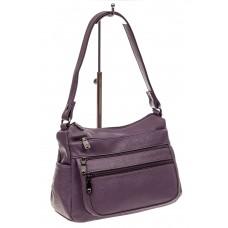 На фото 1 - Женская сумка хобо из искусственной кожи, цвет фиолетовый