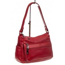 На фото 1 - Женская сумка хобо из искусственной кожи, цвет бордовый