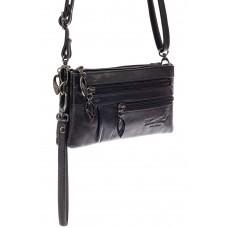 На фото 1 - Маленькая сумка клатч из натуральной кожи, цвет черный