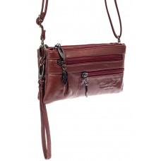 На фото 1 - Маленькая сумка клатч из натуральной кожи, цвет бордо