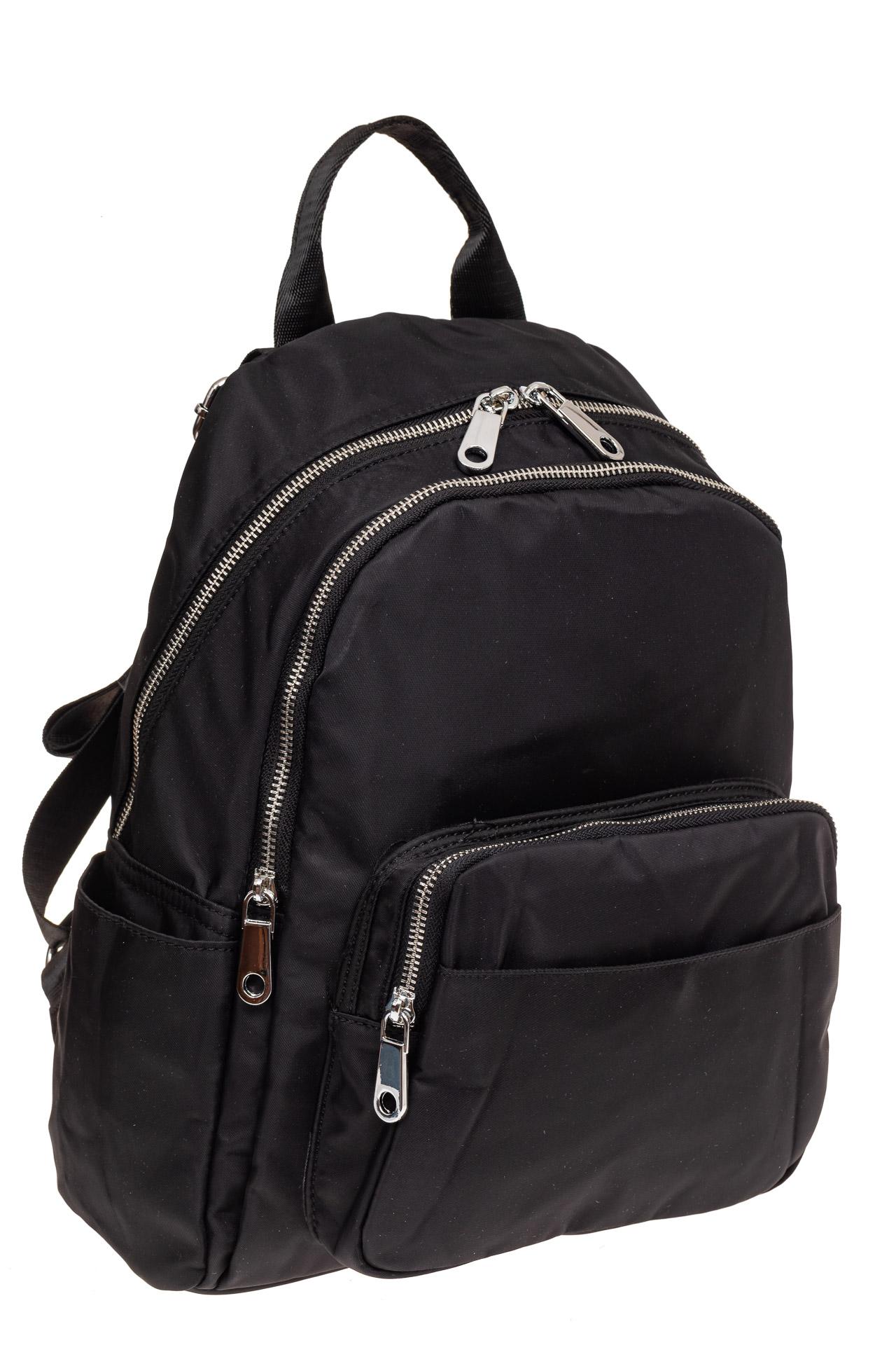 На фото 1 - Городской женский рюкзак из текстиля, цвет черный