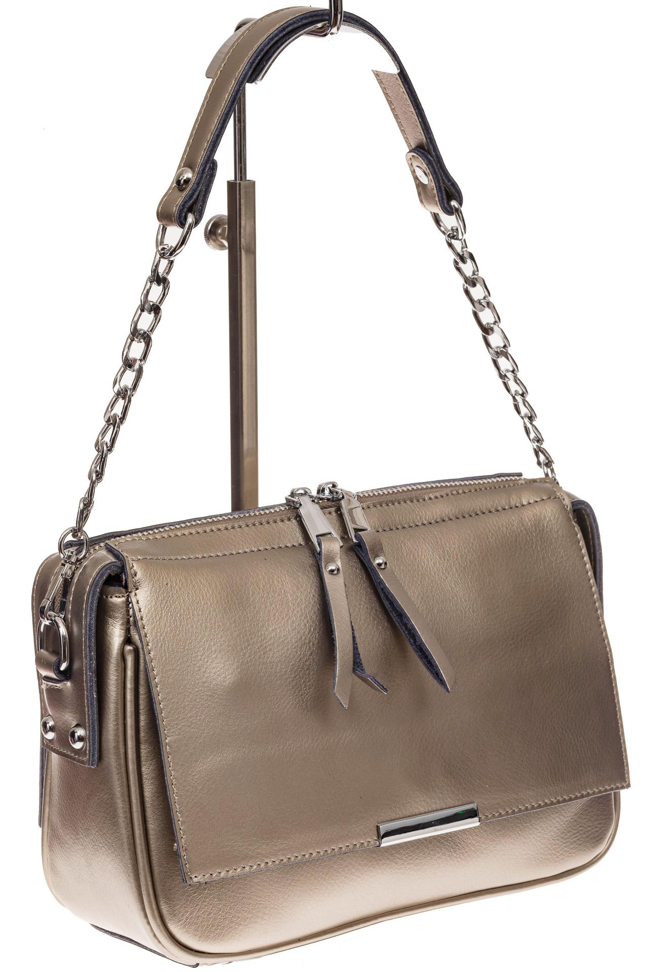 f84b89692a27 На фото 1 - Женская сумка из натуральной кожи, цвет бронзовый перламутр