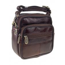 На фото 1 - Мужская сумка на пояс из натуральной кожи, цвет коричневый